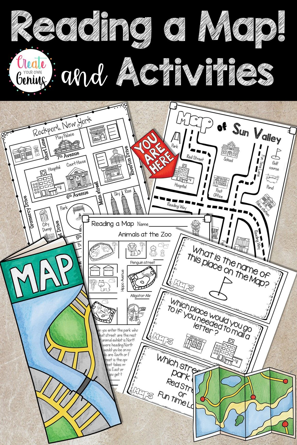 Map Skills- Reading a Map and Activities   Map skills [ 1728 x 1152 Pixel ]