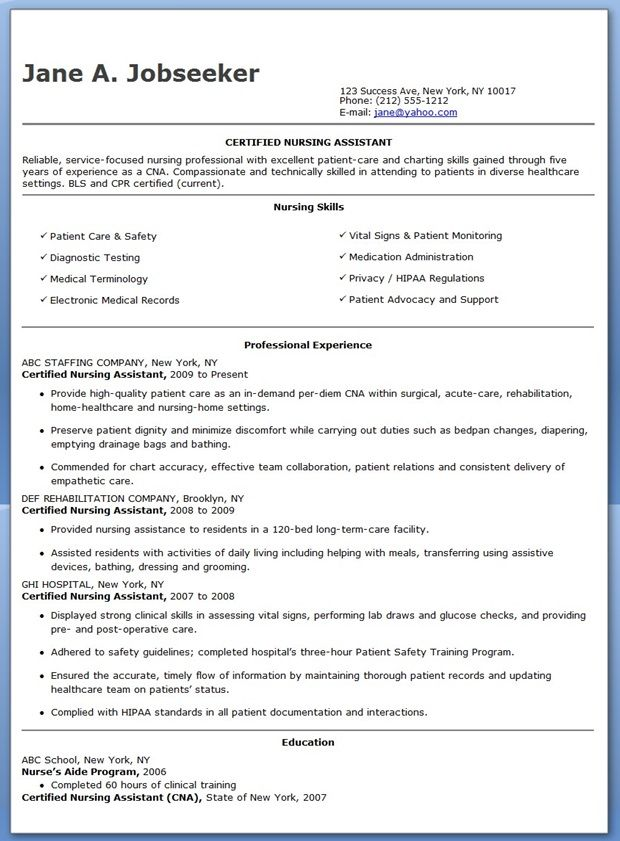 Free Sample Certified Nursing Assistant Resume  Creative Resume