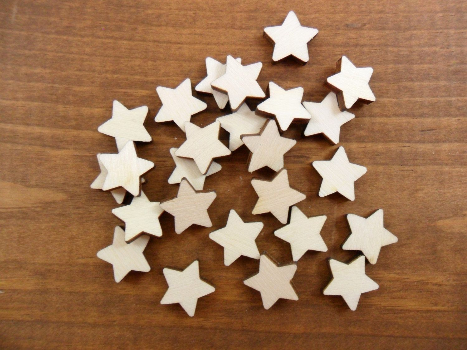 "50 Wood Stars 1/2"" Unfinished Laser Cut Wood Star Stud Earring Shapes"