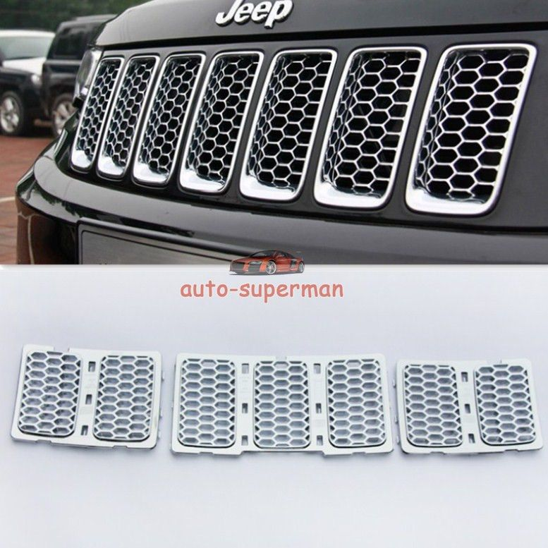 Chrome Front Mesh Grille Honeycomb Insert Trim Kit Jeep Grand