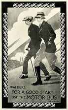 1924 Print Poster C. R. W. Nevinson Walking Men England Countryside Rail Travel