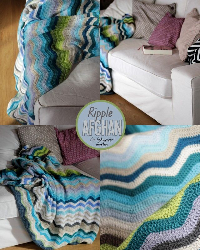 Ripple Afghan In Shades Of Blue And Green Gehäkelt Pinterest