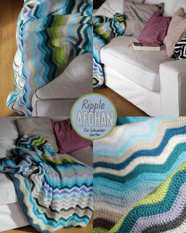 Ein Schweizer Garten Ripple Afghan Blanket in aqua colors | Crochet ...