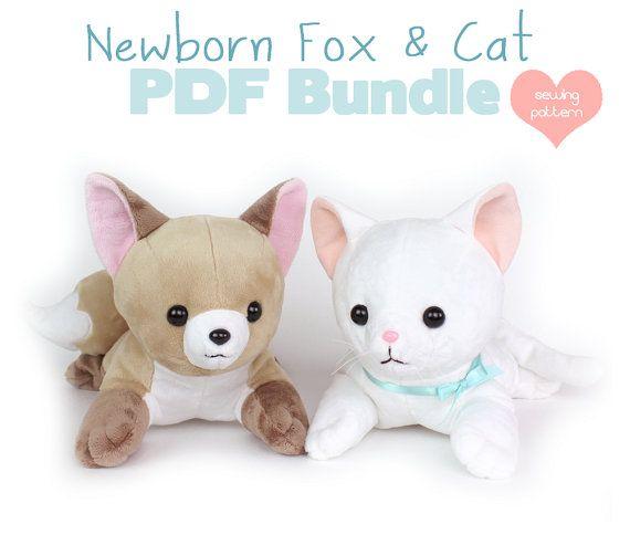 PDF sewing pattern bundle - Fox and Cat stuffed animals - easy cute ...