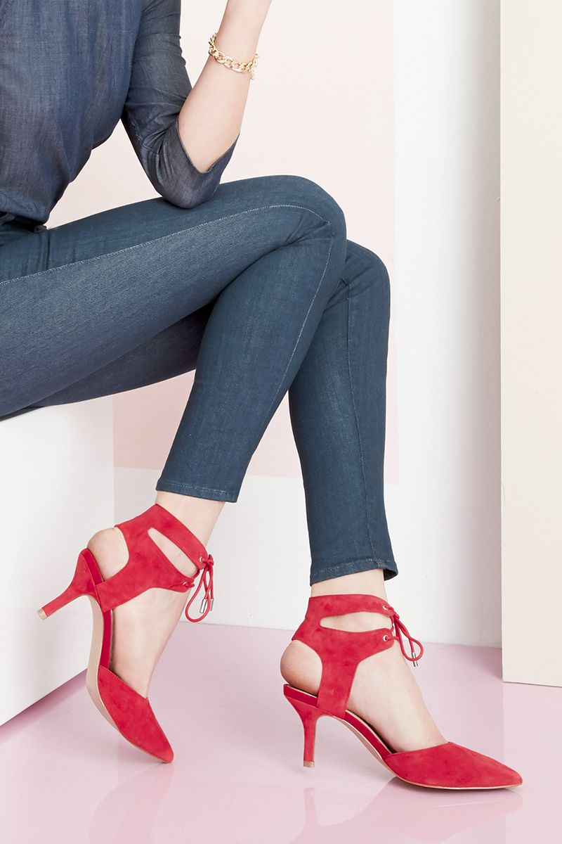Red suede heels with ankle ties   Sole Society Lolita