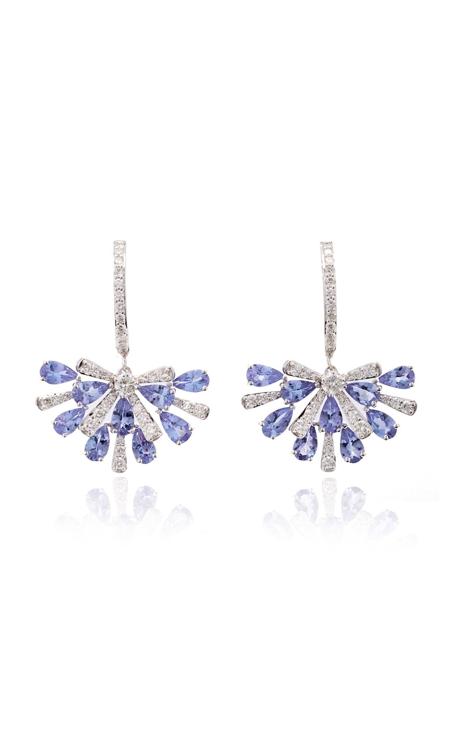 and tanzanite stud en earrings diamond jewellery