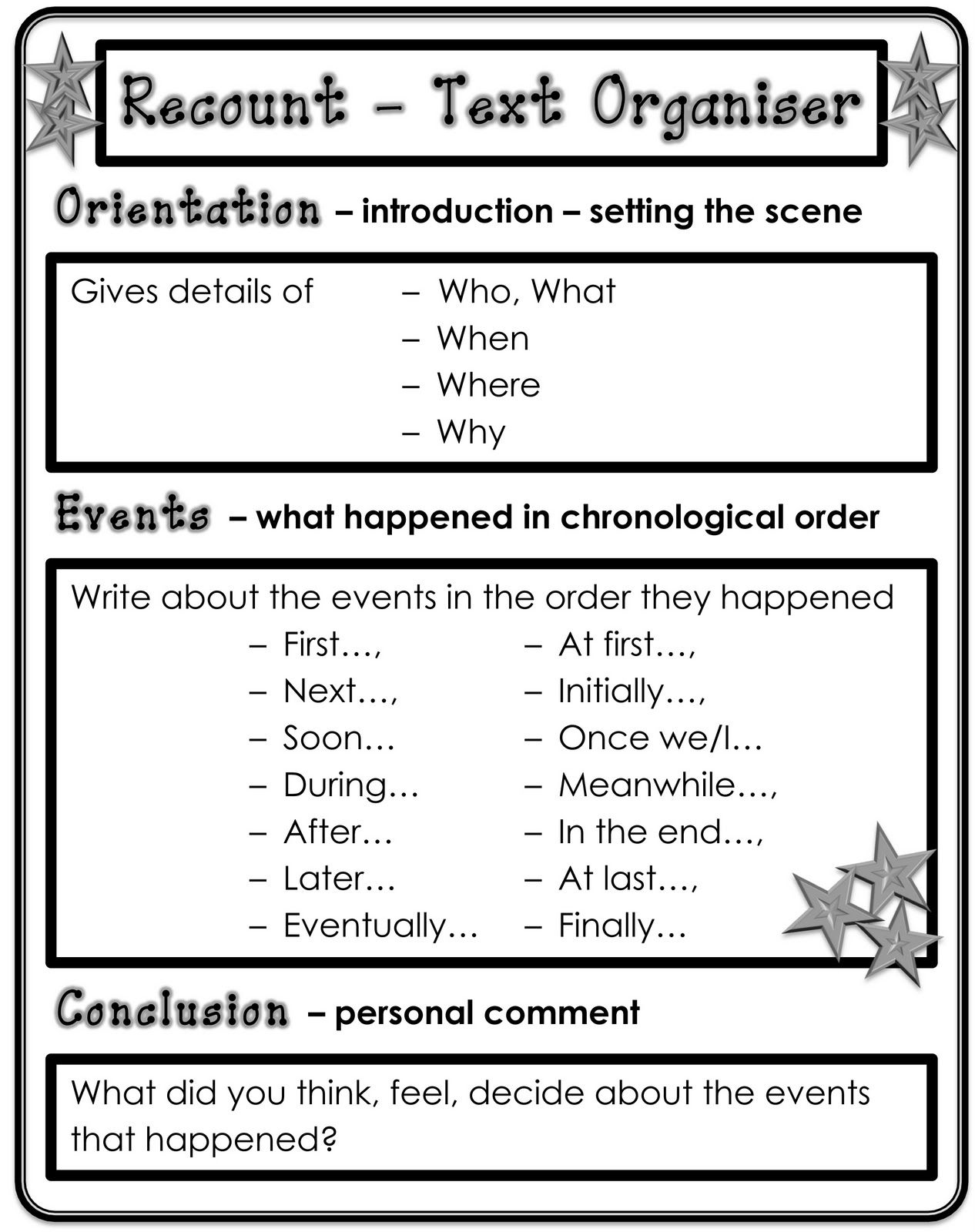 pin by wendy short on school stuff recount writing writing genres writing activities. Black Bedroom Furniture Sets. Home Design Ideas