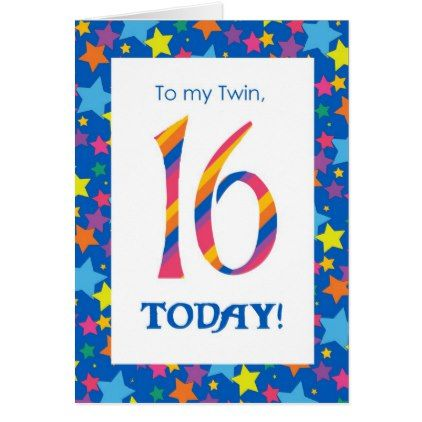 16th Birthday Card For Twin Stripes And Stars Birthday Party