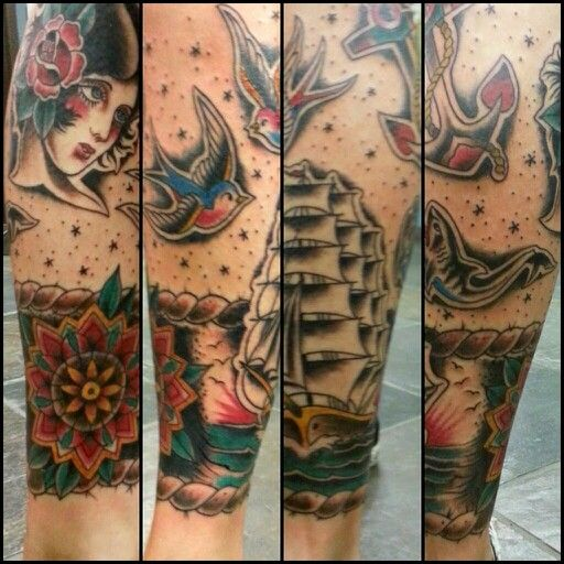 American Tradition Leg Piece Cover Up By Dave Lopez Blacksails Tattoo Tempe Az American Traditional Tattoo Tattoos Traditional Tattoo