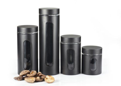 Kitchen Collection Metal Coated Window Canister Set With Airtight Lids ( Black)