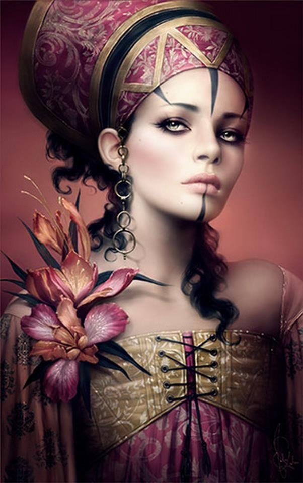 by Melanie Delon. Fantasy art. Female, lavender, orchid, pink, purple, gold, black. Exotic.