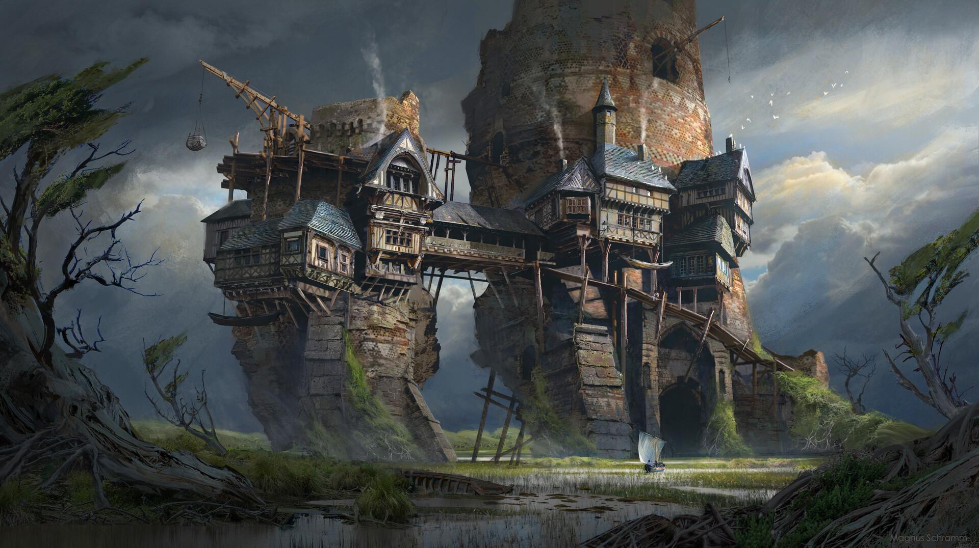 ArtStation - Swamp outpost, Magnus Schramm | Fantasy landscape, Environment  concept art, Fantasy places