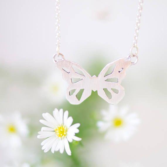 Collar plata de ley mariposa Collar animal Collar de plata