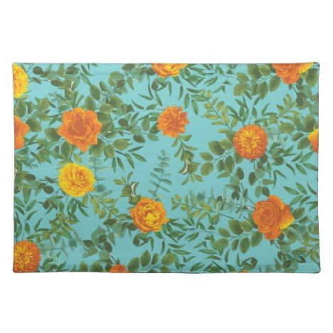 Oranje & blauwgroen Aqua Peony & Rose bloemen bruiloft doek Placemat