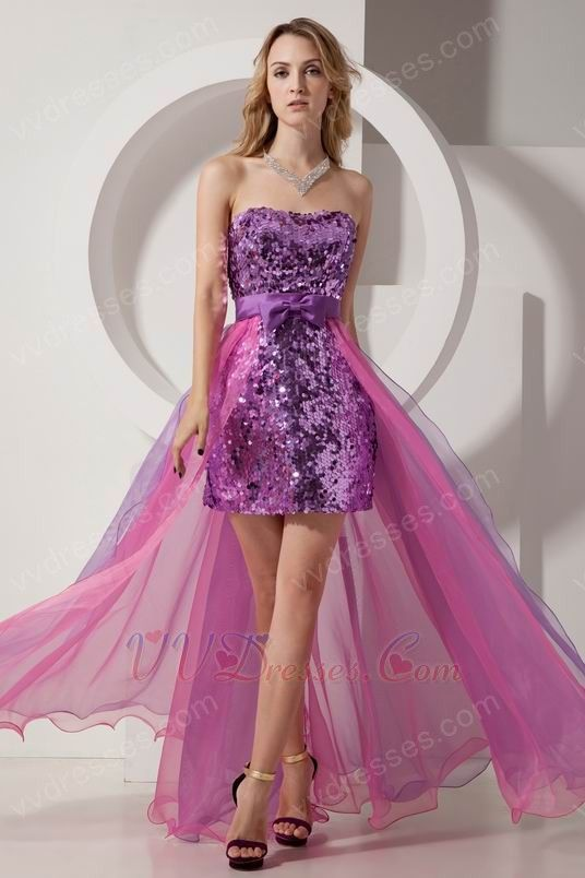 Hi-Lo Purple Sequin Pink Organza Cocktail Dress | Cocktail Dresses ...
