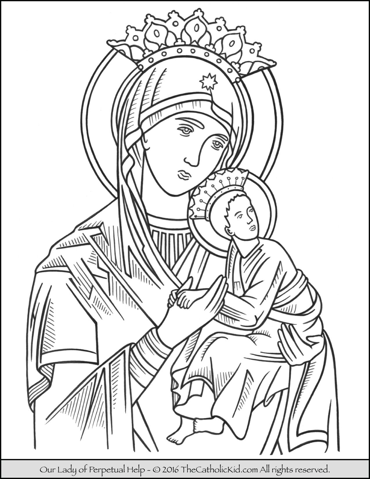 Our Lady Of Perpetual Help Coloring Page Thecatholickid Com