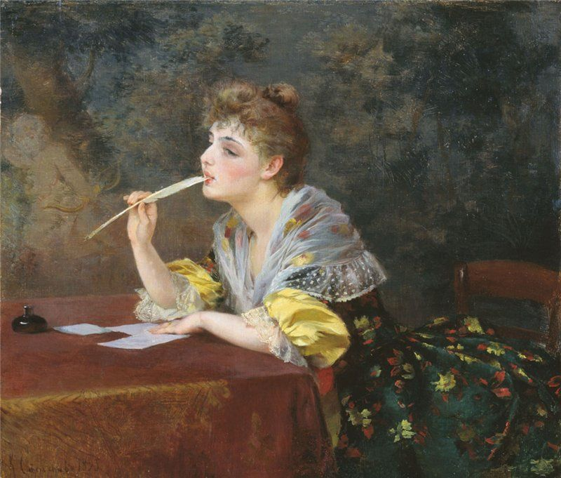 Victor Gabriel Gilbert A Young Lady Writing a Letter