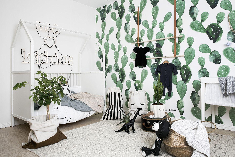 Tellkiddo Black And White Nursery Featuring Cactus Wallpaper Kids Room Inspiration Nursery Inspiration Boy Nursery Inspiration