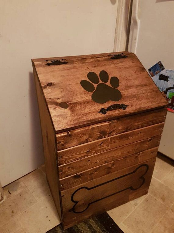 Large Wooden dog food storage container dog food bin pet food