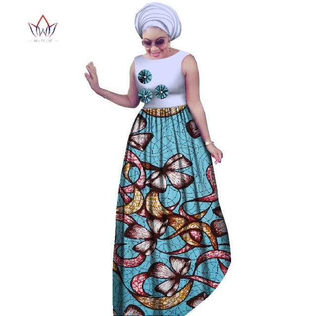 2017 BRW African Plus Size Dresses For Women 6XL Dashiki Afrian Style Sleeveless Sexy Maxi Dresses+Head Scarf 2 pieces WY2019 – 2 / XXXL