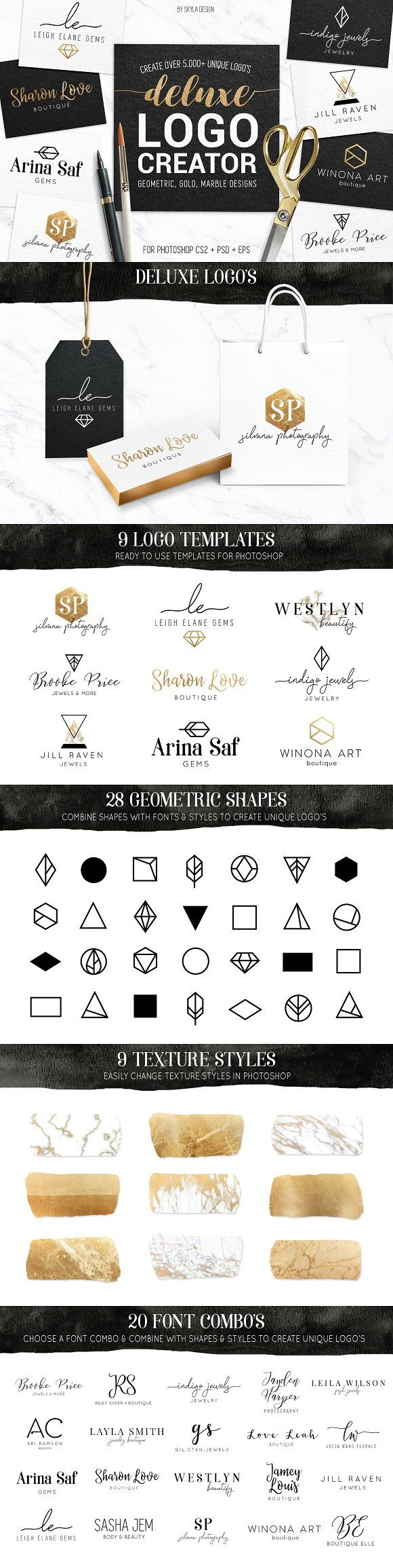 Deluxe geometric, gold logo creator kit with 9 logo templates by ...