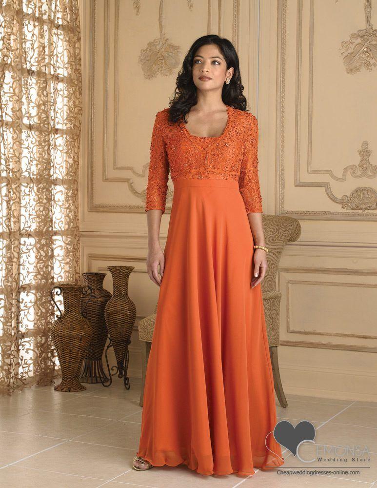 A line scoop floor length length satin orange mother of for Us size wedding dresses