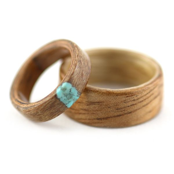 Matching Wedding Wood Rings - Provided woods with Turquoise
