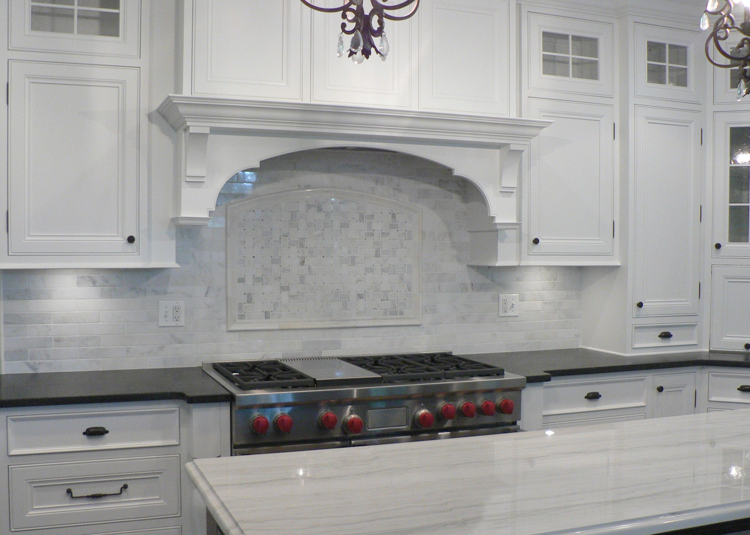 White carrera marble backsplash kitchen countertops tile pinterest marbles kitchens and Stone backsplash tile
