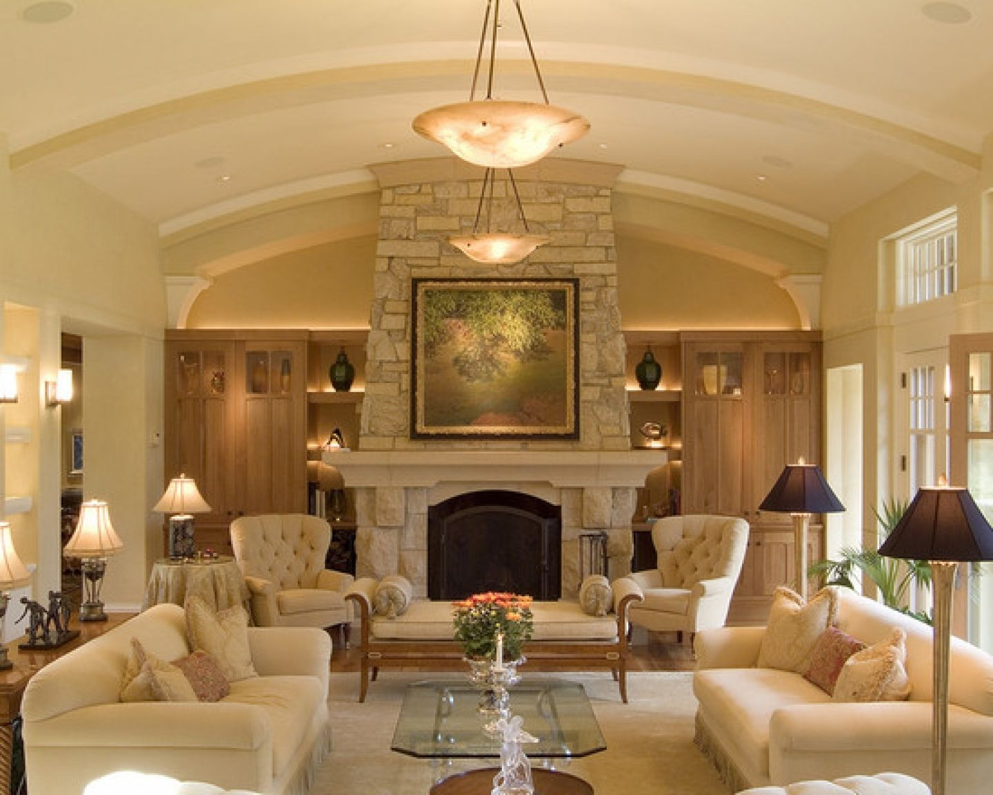 classic living room with fireplace
