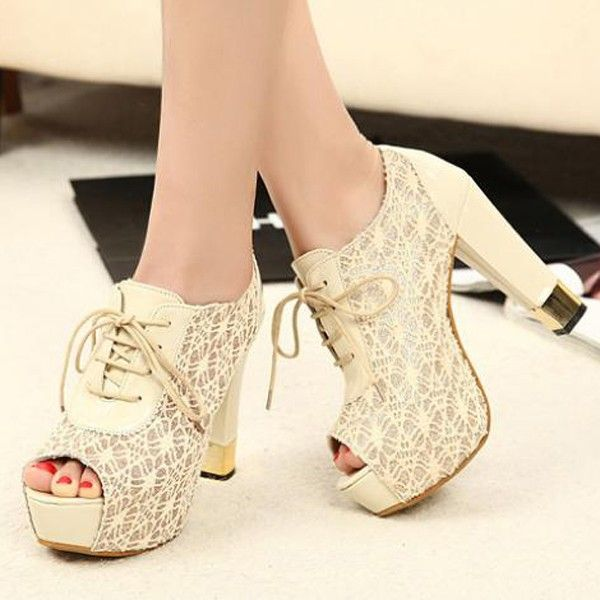 Fashion Lace Upper Design Peep Toe Heels - $36.99 // OWNED