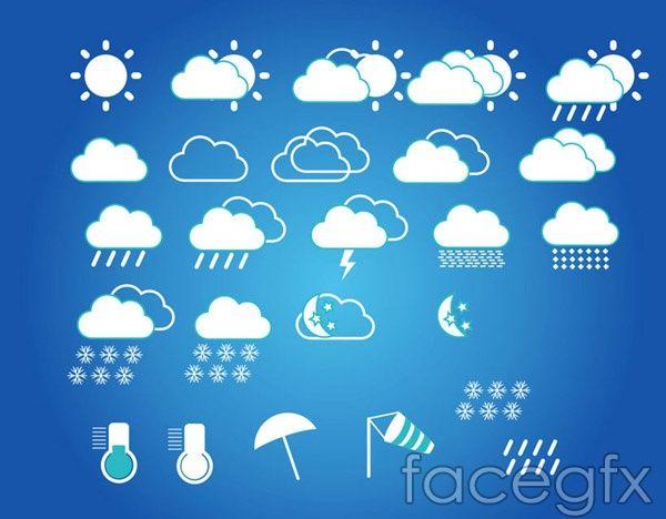 Weather Forecast Symbols Vector Free Vectors Pinterest Weather
