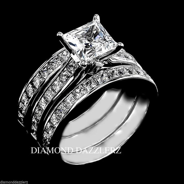 wedding rings princess cut set - Sterling Silver Diamond Wedding Rings