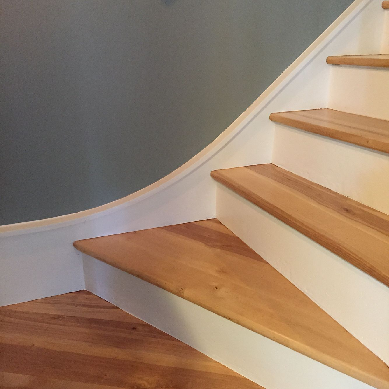 Refinished Hardwood Stairs   White Risers Maple Treads