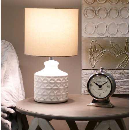 Better Homes Gardens Diamond Weave Table Lamp Distressed White Walmart Com Table Lamp Lamp Distressed White