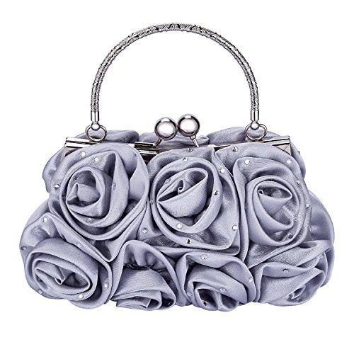 f20ccf348c Emour Women Satin Rose Rhinestone Pure Color Handbag Evening Bags ...