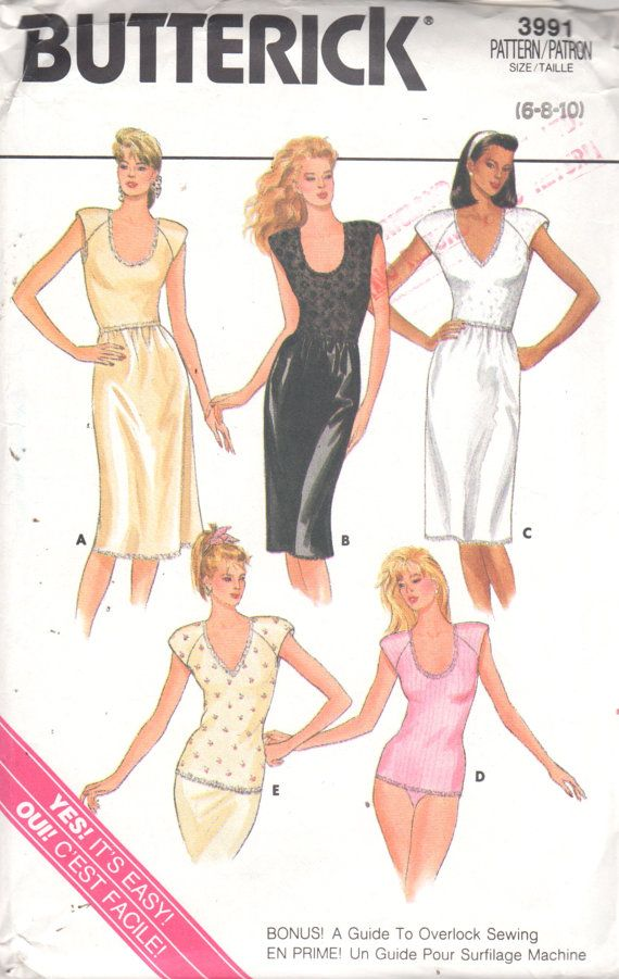 Butterick 3991 1980s Misses Shoulder Pad Camisole and Full Slip ... eed9b4b62