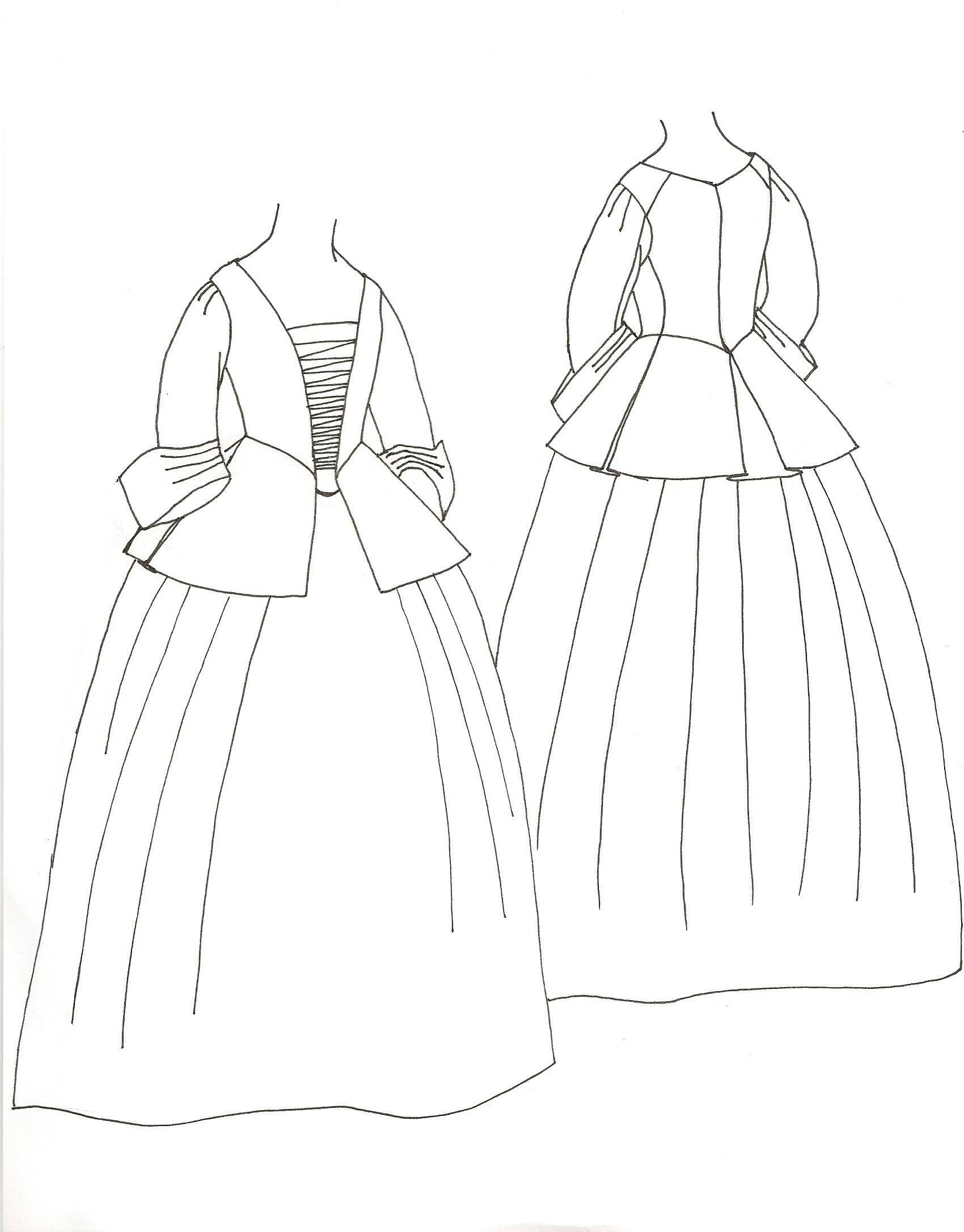 calico jacket and petticoat 18th century the jacket jackets 1968 Fashion Clothing outline sketch of jacket petticoat