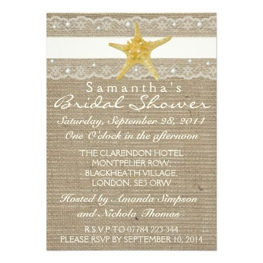 IVORY LACE AND PEARL BURLAP BEACH BRIDAL SHOWER INVITATIONS