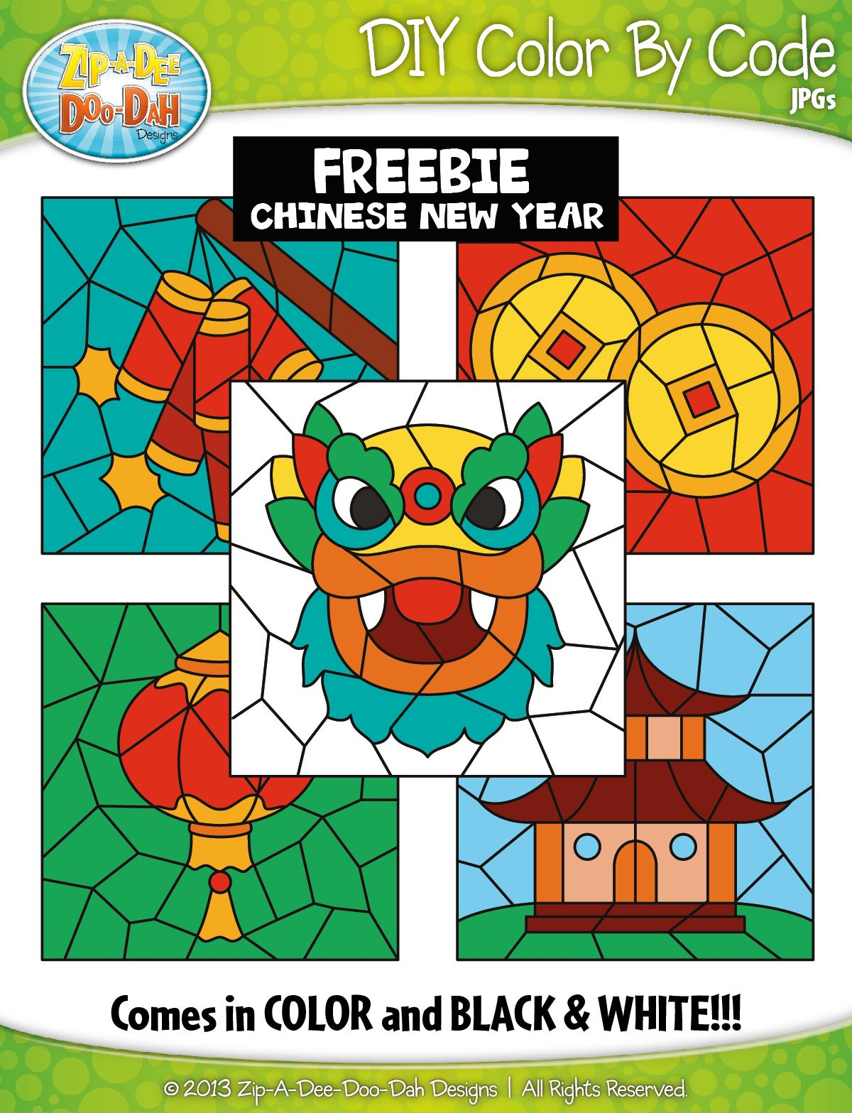 Free Chinese New Year Color By Code Clipart Zip A Dee Doo