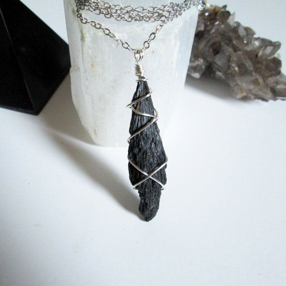 Raw Kyanite Necklace Rough Kyanite Necklace Kyanite Bar Necklace Raw Black Kyanite Bar Necklace Bar Necklace. Kyanite Necklace