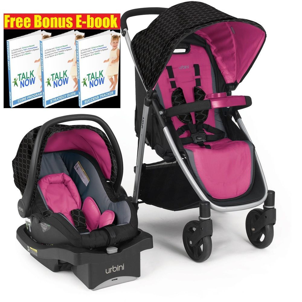 Urbini Stroller 3 In 1 Pink Black Travel System Lightweight Baby