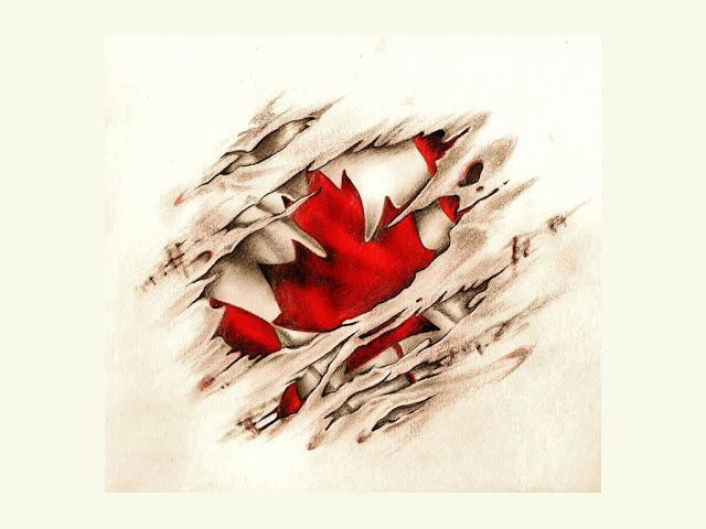 Small Canada Tattoo: Canadian Scratched Vintage Flag Tattoo