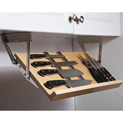 Under Cabinet Drop Down Knife Block Drawer Ebay Hidden Kitchen