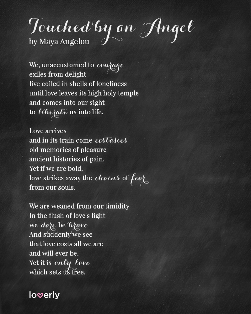 Touched By An Angel Maya Angelou Poem Reading For Wedding Ceremony