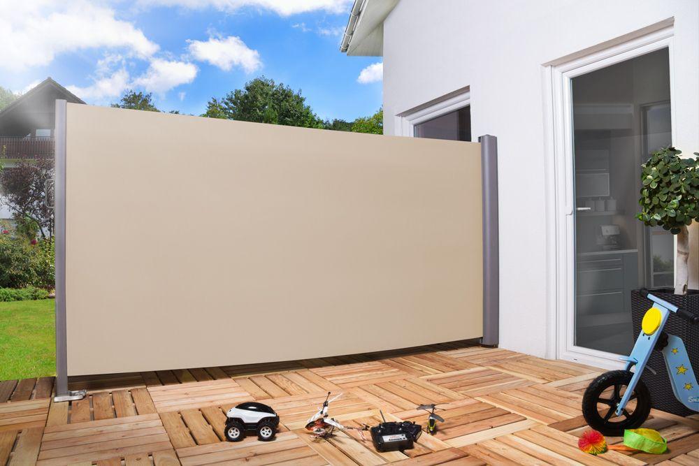 seitenmarkise ausziehbar empasa ausgezogen farbe creme seitenmarkise f r terrasse oder. Black Bedroom Furniture Sets. Home Design Ideas