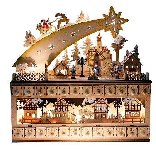 Top 27 Wooden Christmas Advent Calendars 2020 Christmas Advent Calendar Christmas House Lights Advent Calendar House
