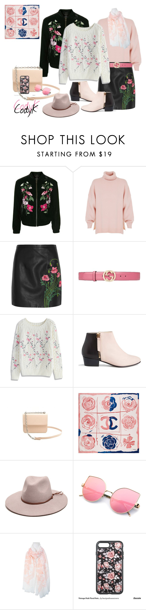 """Black, White, Pink"" by cody-k ❤ liked on Polyvore featuring Topshop, TIBI, Christopher Kane, Gucci, Chicwish, Nine to Five, Chanel, Gottex and OtterBox"