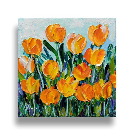 Yellow Tulip Original Oil Painting Flower Textured Impasto Knife Small Canvas Mother Gift For Her Ready