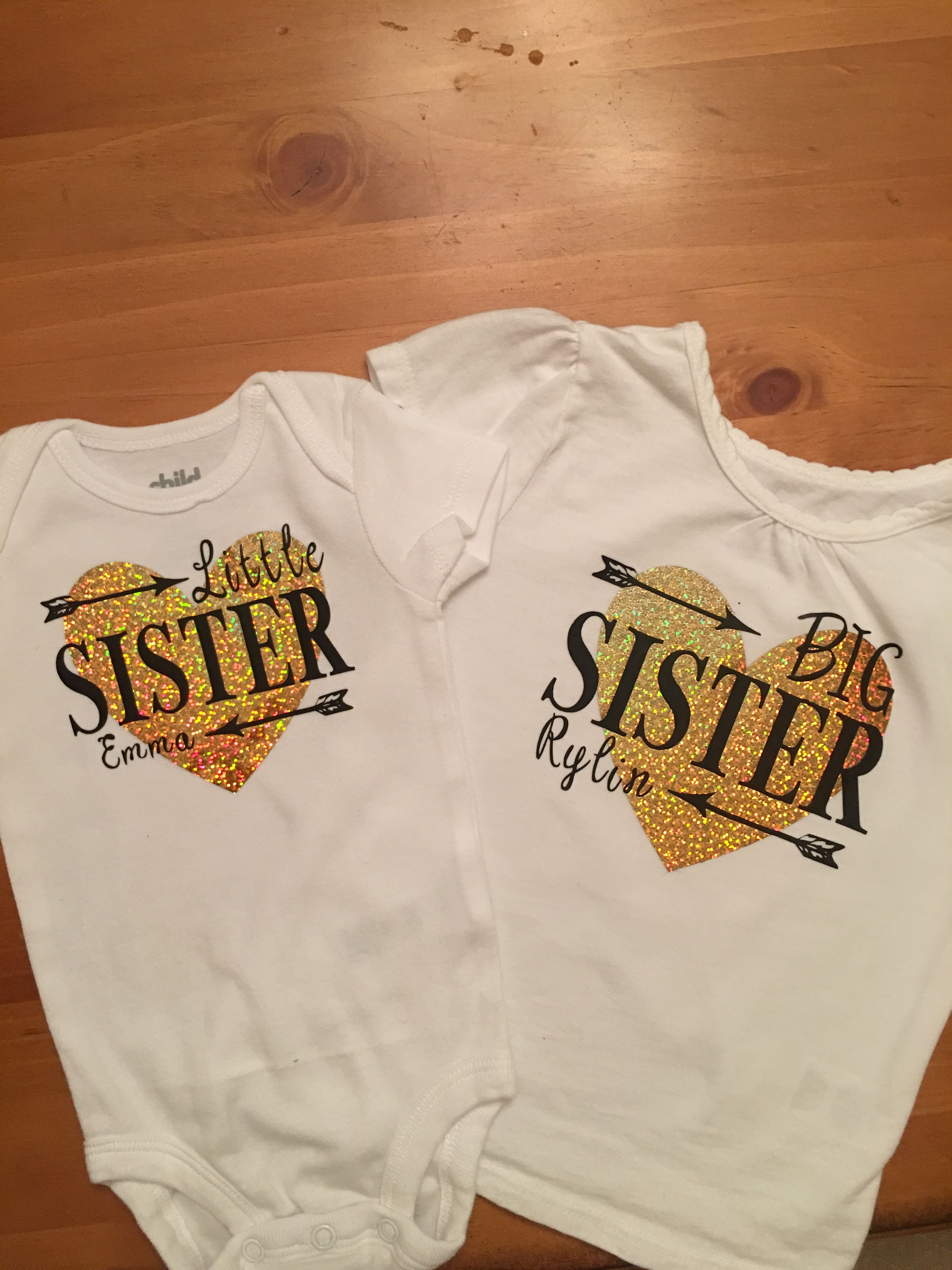Big Sister Little Sister Shirts Probably The Best Project So Far So Fun To Come Up With A Design A Sister Shirts Matching Sister Shirts Big Sister Shirts Diy