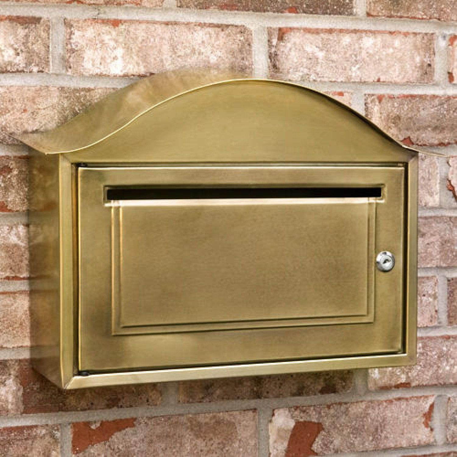 Arched Locking Wall Mount Brass Mailbox Antique Brass Antique Mailbox Mounted Mailbox